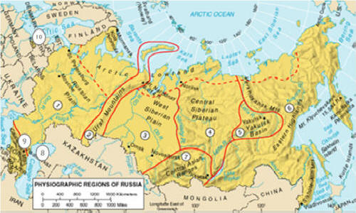 GEOG NOTES REGIONS EUROPE AND RUSSIA - Russia physical map