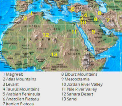 physical map of north africa southwest asia and central asia Geog 1303 Notes Regions Africa physical map of north africa southwest asia and central asia